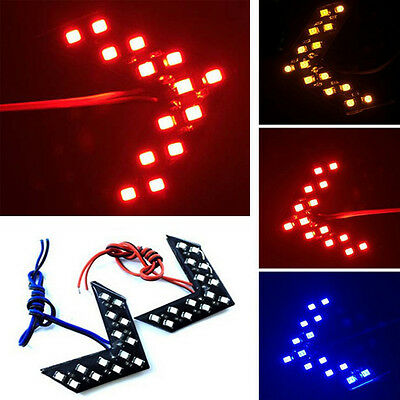 1x Car Auto Side Rearview Mirror Arrow 14SMD Red LED Turn Signal Lights Lamp