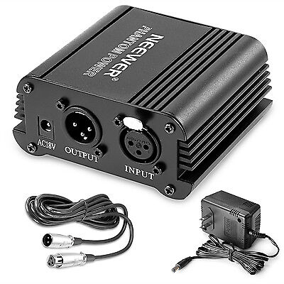 Neewer 1-Channel 48V Phantom Power Supply Black w/ Adapter & One XLR Audio Cable