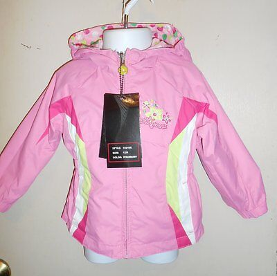 ZeroXPosur Infant Girls Reversible Hooded Lightweight Jacket Strawberry 12M NWT