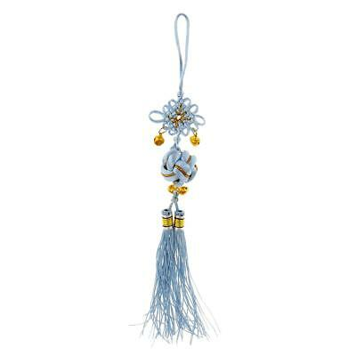 Handcraft Knitted Chinese Traditional Lucky Ball Ornamental Knot Tassel Blue