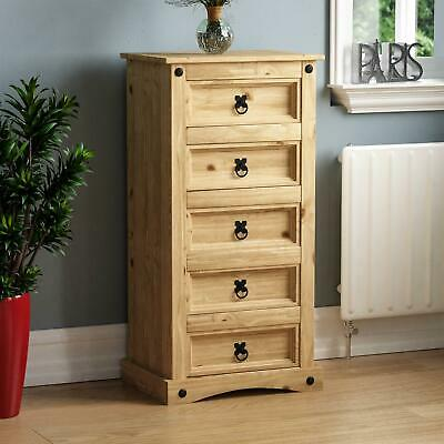 Corona 5 Drawer Narrow Chest Solid Pine Mexican Furniture Wood By Home Discount