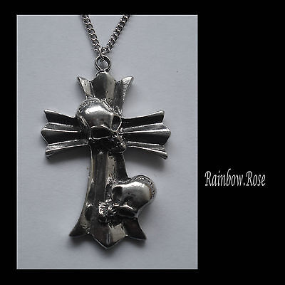 Chain Necklace #1232 Pewter CROSS 2 SKULLS (48mm x 32mm) GOTH PENDANT
