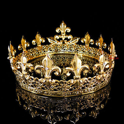 Men's Imperial Medieval Fleur De Lis Gold King Crown 8.5cm High 18cm Diameter