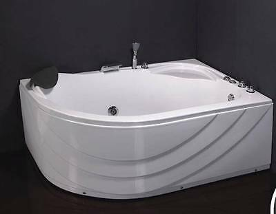 Offset Whirlpool Corner bath with taps Pop Up Waste Panel Jets 1500 x 1000 White