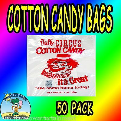 50 Cotton Candy Bags-Circus Clown-Gold Metal- New