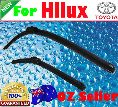 Pair Frameless Windscreen Wiper Blades For TOYOTA HILUX 01/2013 - 05/2016