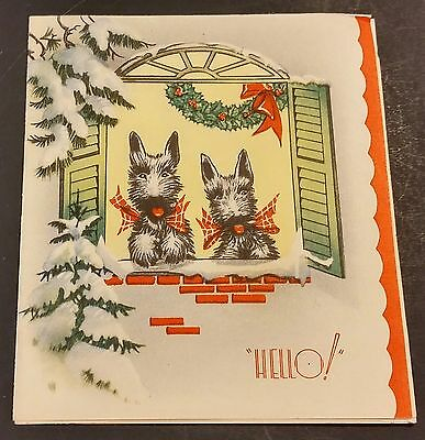 Vintage Scottish Terriers At Window Christmas Greeting Card - Usa