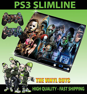 Playstation Ps3 Slim Sticker Horror Montage Villains Evil Skin & 2 Pad Skin