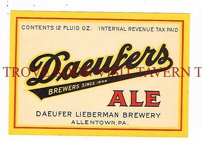 1940s Allentown Daeufer/'s Bock Beer QUART Label Tavern Trove Reading PA