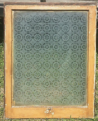 Antique Snowflake Glass Frosted Window Old Shabby Cottage Chic Vtg 965-16