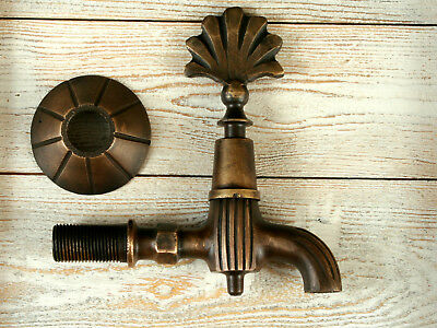 Faucet Antique Style Old Brass Wall Mount Garden Tap Bathroom Handmade