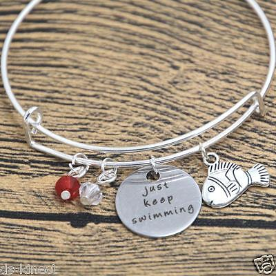 Finding Nemo Bangle Dory Inspired Just Keep Swimming Silver Plated Disney