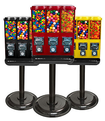 New Trio 3-Head Candy Gumball Vending Machine
