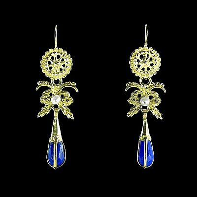 Long antique yellow gold dangle earrings with faceted blue crystals M-F