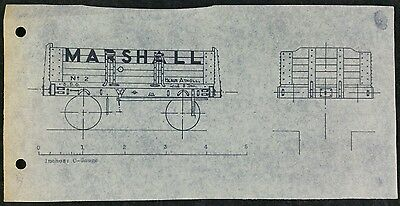Vintage Technical Drawing, Private Owner Wagon, For Marshall of Blair Atholl