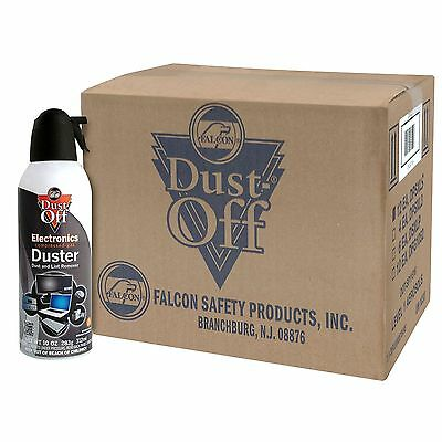 Case of Falcon Dust Off 12 pack 10 oz Cans Remover Compressed Canned Air Duster