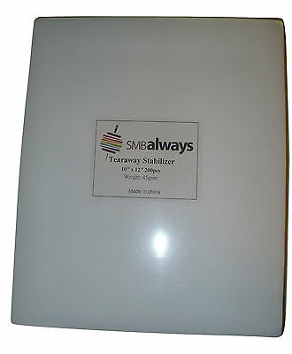 Tearaway Embroidery Stabilizer, 10x12, 200 Precut Sheets for Embroidery Machines