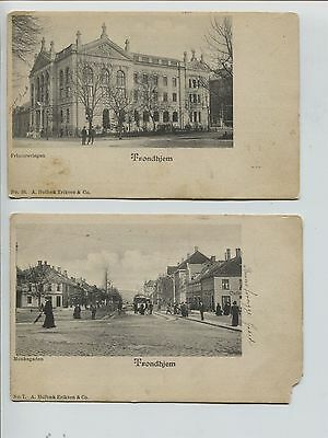 2 Early Undivided Back  Trondheim Trondhjem  Street &  other Norway Postcards