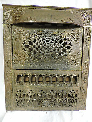 ANTIQUE LATE 1800'S GAS CAST IRON ORNATE FIREPLACE COVER VERY ORNATE DESIGN d