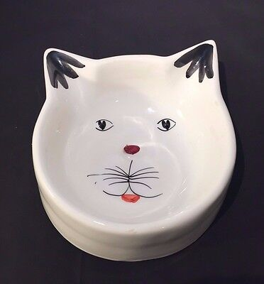 Hand-Painted ITALIAN Pottery CAT DISH - Made in Italy - Ceramic Cat Bowl
