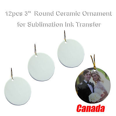 Tree Decorations 12pcs Blank Sublimation 3'' Round Ceramic Ornaments Free Ship