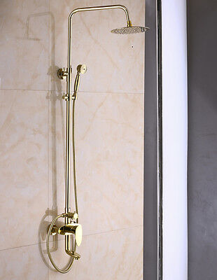 8-inch Rainfall Shower Faucet System Swivel Spout Mixer Tap Gold Finish Bath