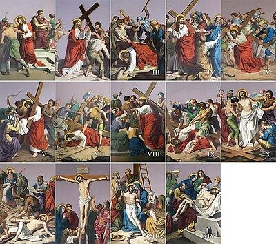 "6"" x 9"" Metal Plate Traditional Outdoor Indoor Stations of the Cross"