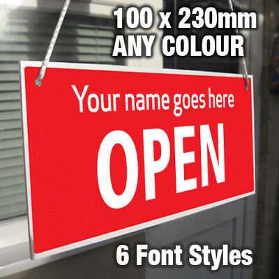 Personalised Custom Made Open Closed Hanging Sign, Shop Window/door – Any Colour