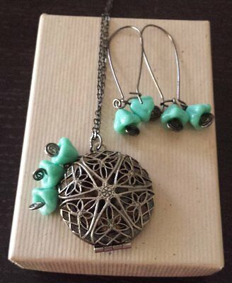 Brass and Turquoise Glass Filigree Scent Locket Necklace & Earring Set Handcraft
