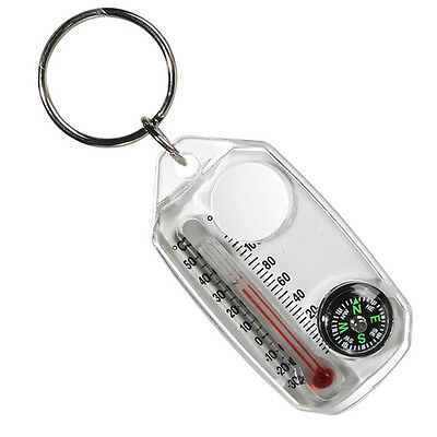 Travel Thermometer Compass Magnifier 4 In 1 Outdoor Camping Keychain Key Ring