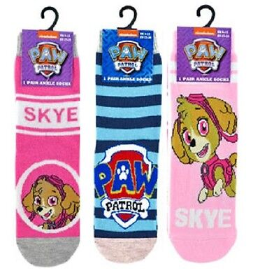 Official PAW PATROL Skye Girls Kids 3 PACK Childrens Socks 3-5 / 6-8 / 9-12 NEW