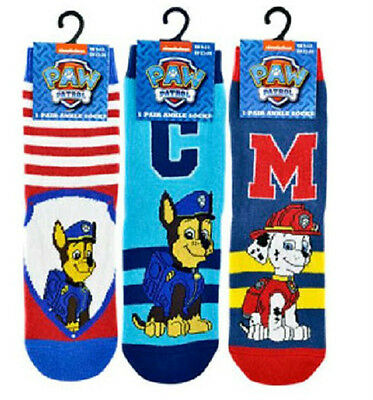 Official PAW PATROL Boys Kids 3 PACK Childrens Socks 3-5 / 6-8 / 9-12 NEW
