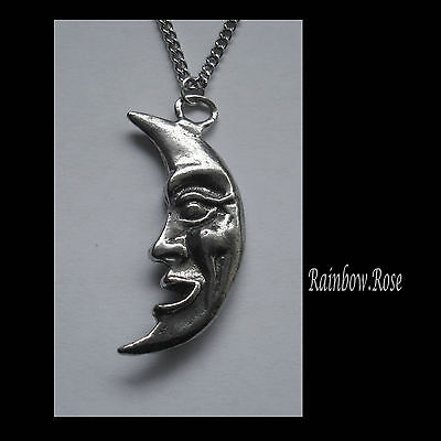 Chain Necklace #1267 Pewter MOON with FACE PENDANT (39mm x 19mm)