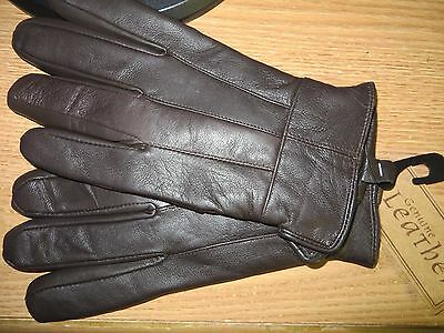 Mens Brown Soft Leather Gloves 40 Gram Thinsulate Insulation