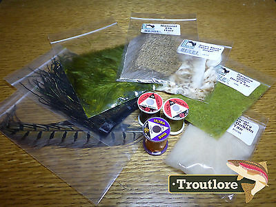 10 Pc Fly Tying Materials Kit #1 - Thread, Feathers, Hair Set Starter Pack - New