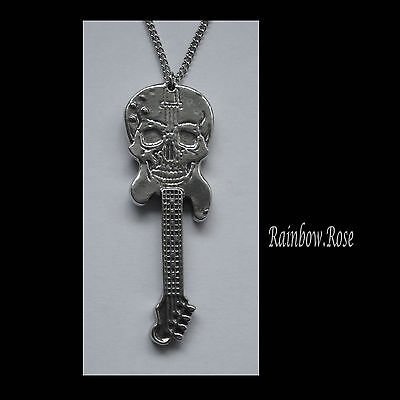 Pewter Necklace on Chain #1274 SKULL GUITAR PENDANT (56mm x 19mm)