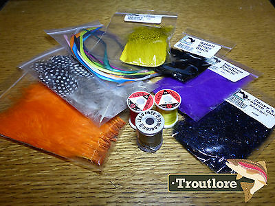 10 Pc Fly Tying Materials Kit #2 - Thread, Feathers, Hair Set Starter Pack - New