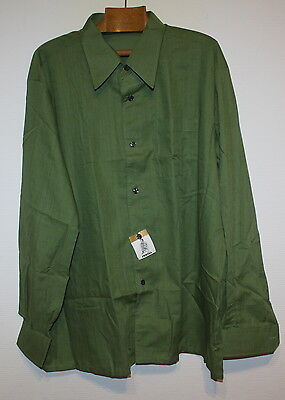 """Mens 1960s Vintage French Green Shirt Perval 50"""" Chest NWT Made in France"""
