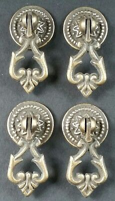 "4 Teardrop Handles Pulls Ornate Victorian Antique Style 2"" with 4 bolts  # H8"