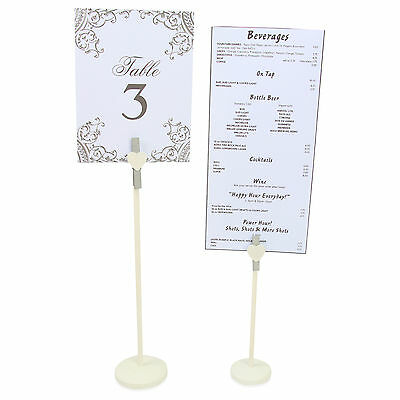 Silver Peg & Heart Stand Wedding Table Number Photo Display White Wooden Holder