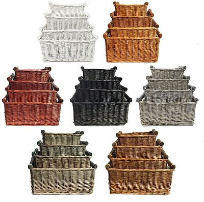 Large Wicker Log Basket Storage Logs Firewood Fireplace Wood Carrier Hamper Gift
