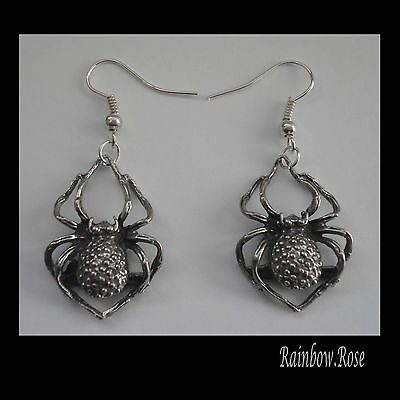 Pewter Earrings #1016 GOTH SPIDERS (20mm x 28mm)