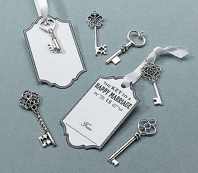 24 x Silver Wedding Key Tags Alternative to Guest Book Guest Signing and Advice