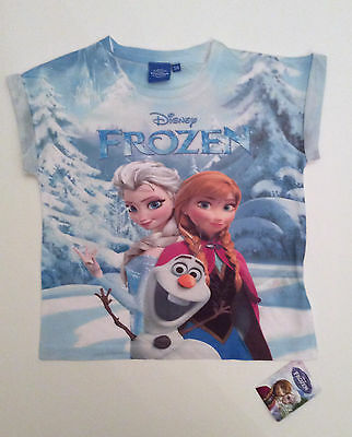 Girls Disney FROZEN Elsa, Anna & Olaf BLUE T SHIRT from Primark VARIOUS AGES