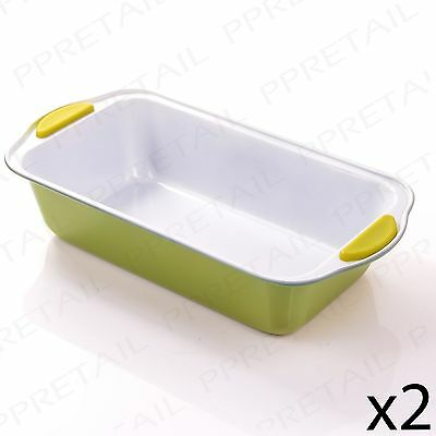 """2x Large 12"""" Green NON-STICK Rectangle Baking Tin Meatloaf/Cake/Bread Tray/Pan"""