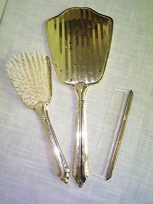 Vintage Gold Tone Vanity Brush Comb Mirror Set
