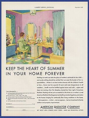 Antique Vintage 1929 AMERICAN RADIATOR COMPANY Heating Print Ad 1920's 20's