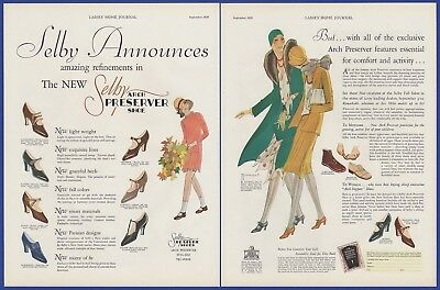 Antique Vintage 1929 SELBY Shoes Women's Fashion RARE Print Ad 1920's