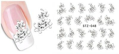 White Flower 3D Nail Art Sticker Decal Decoration Manicure Water Transfer