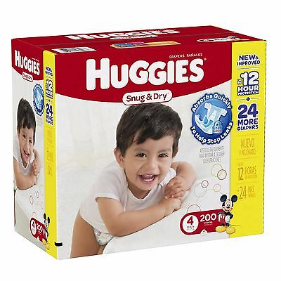 Huggies Snug & Dry Step 4 Diapers with SnugFit Waistband, 200 Count